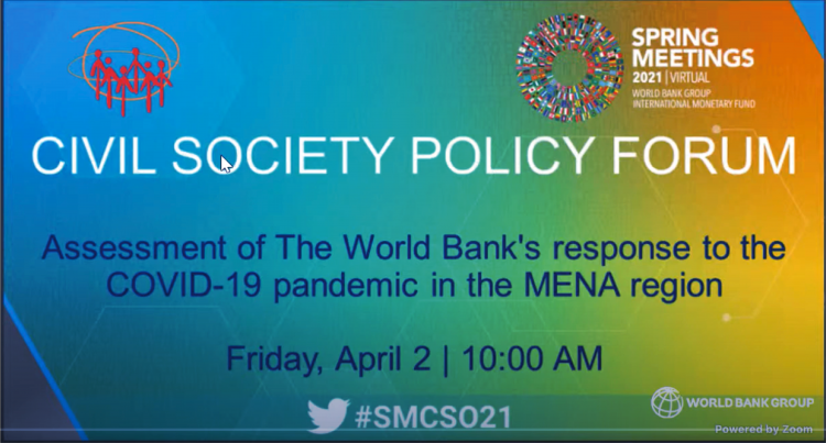 AWC speaks on the World Bank's response to the COVID-19 pandemic in the MENA region